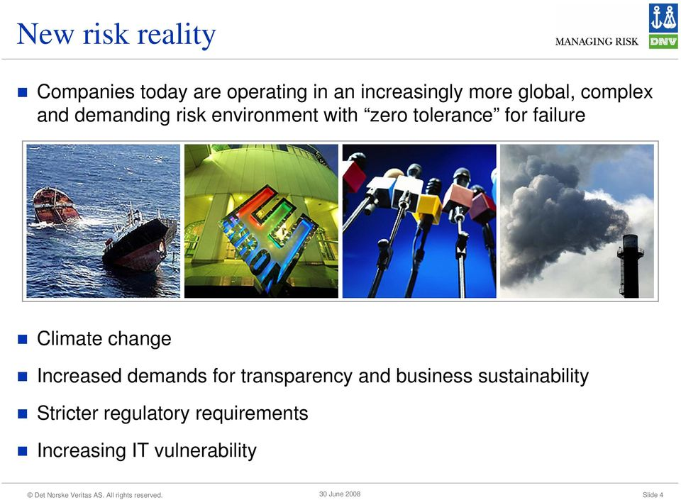 failure Climate change Increased demands for transparency and business