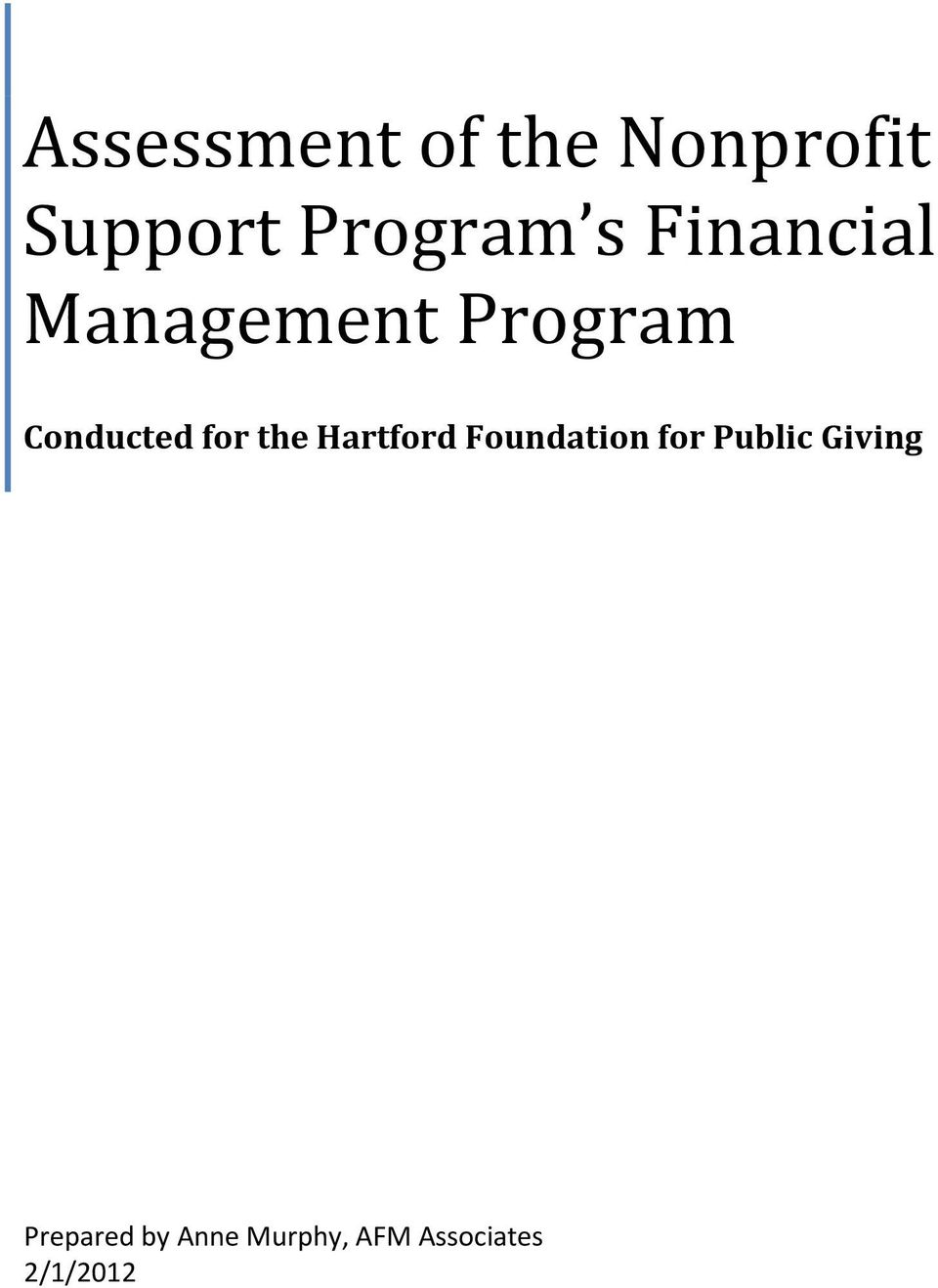 the Hartford Foundation for Public Giving