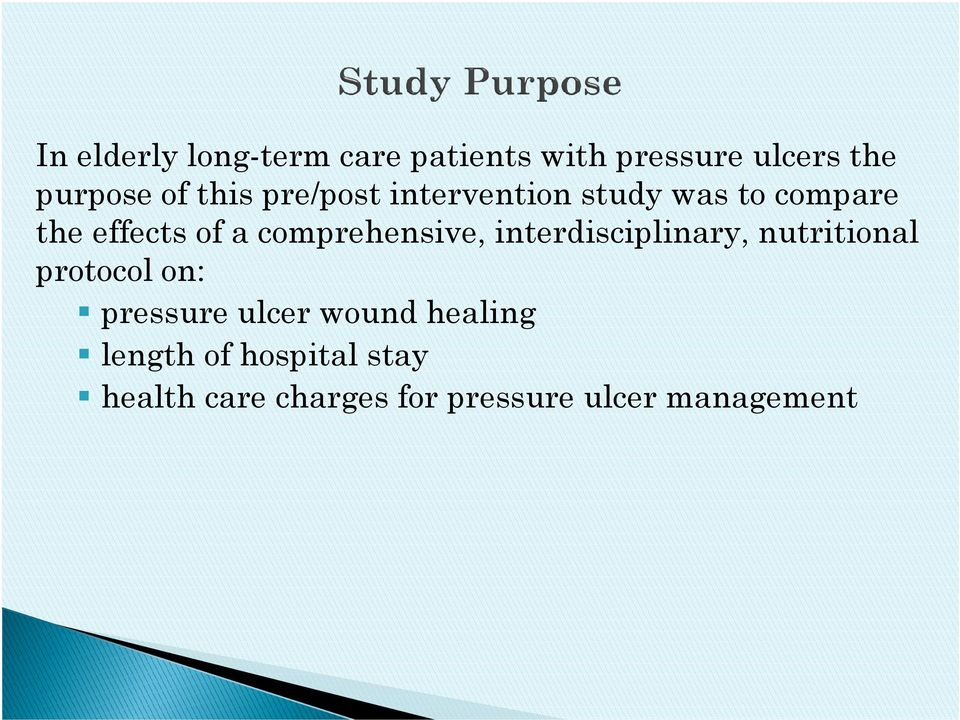 comprehensive, interdisciplinary, nutritional protocol on: pressure ulcer