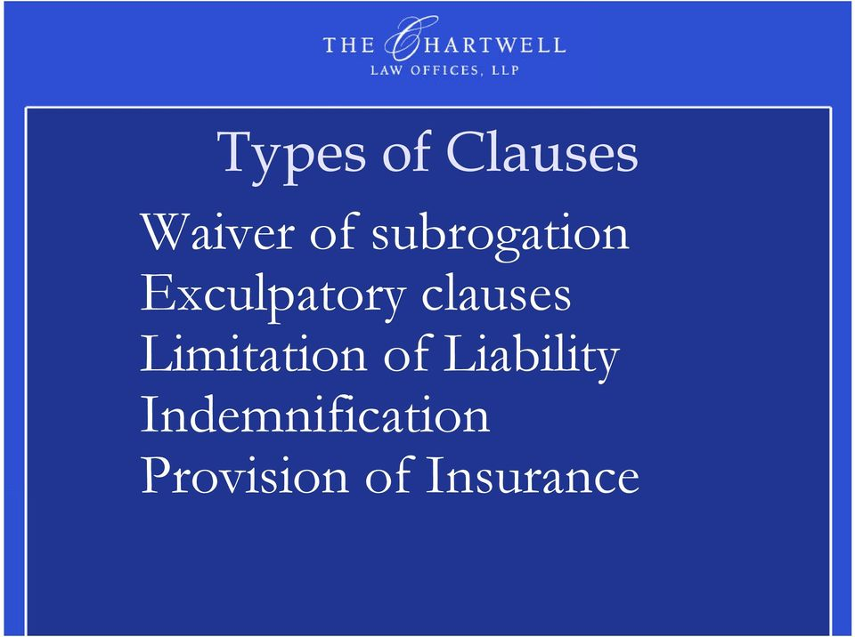 clauses Limitation of