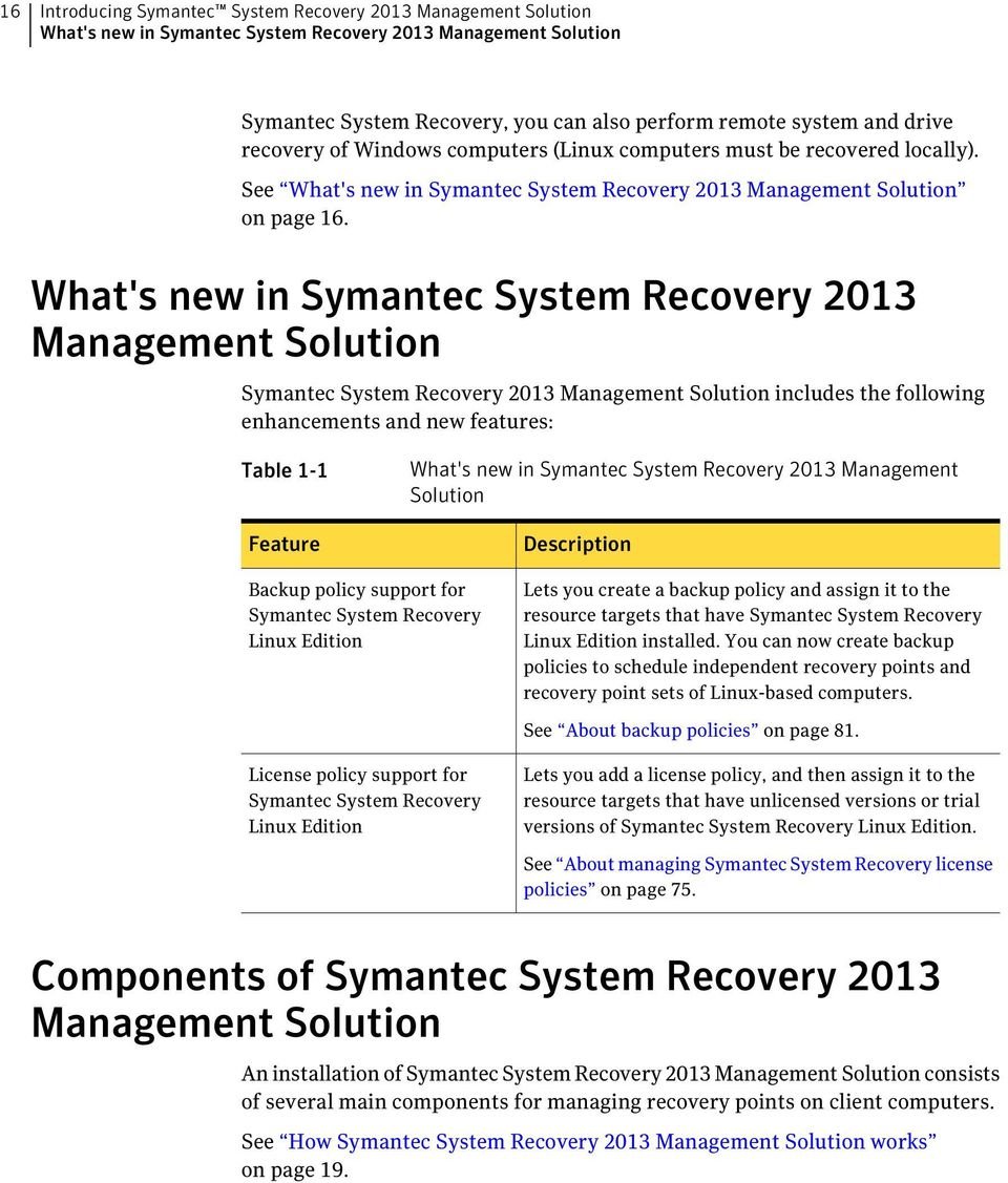 What's new in Symantec System Recovery 2013 Management Solution Symantec System Recovery 2013 Management Solution includes the following enhancements and new features: Table 1-1 Feature What's new in
