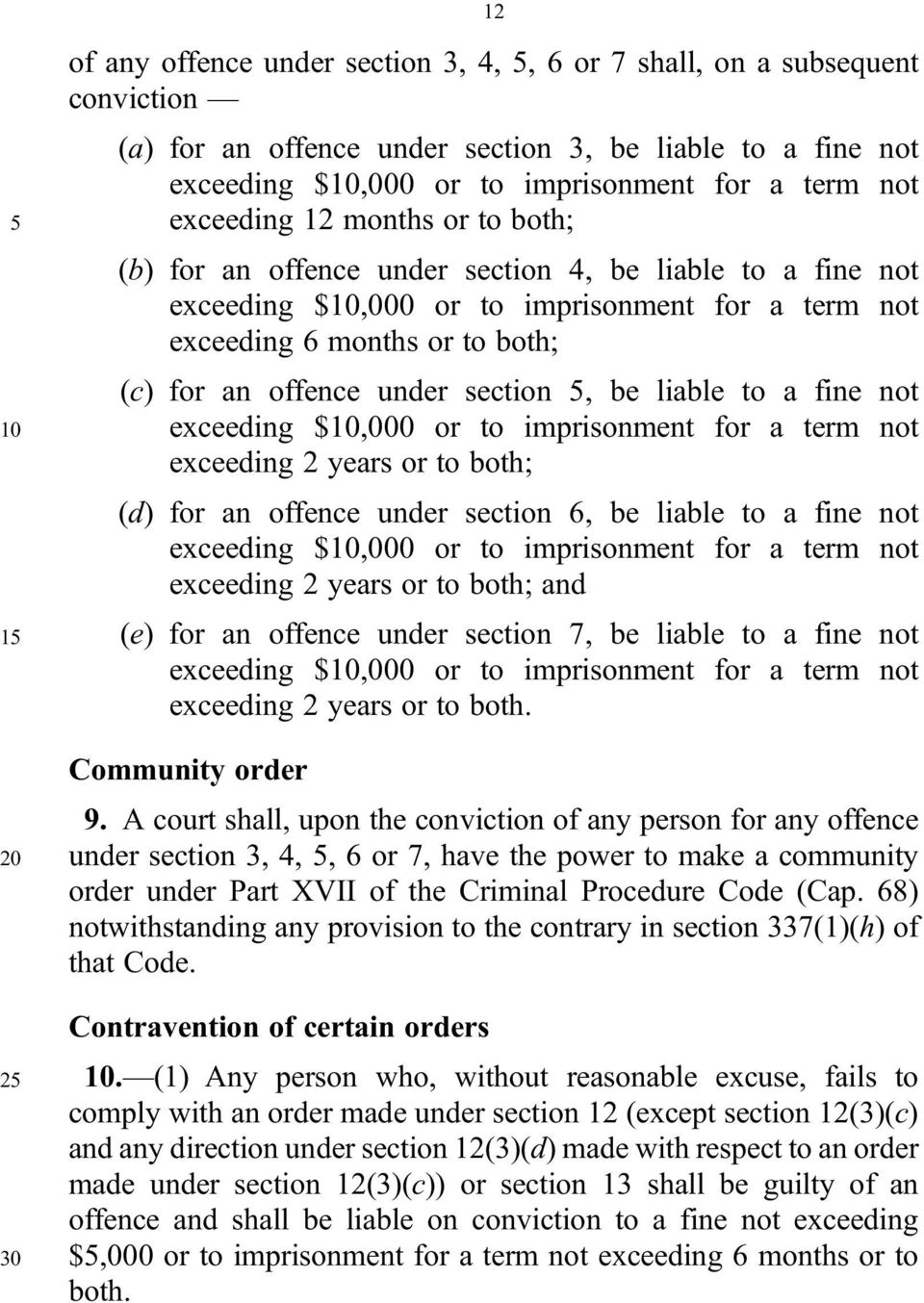 section 5, be liable to a fine not 10 exceeding $10,000 or to imprisonment for a term not exceeding 2 years or to both; (d) for an offence under section 6, be liable to a fine not exceeding $10,000