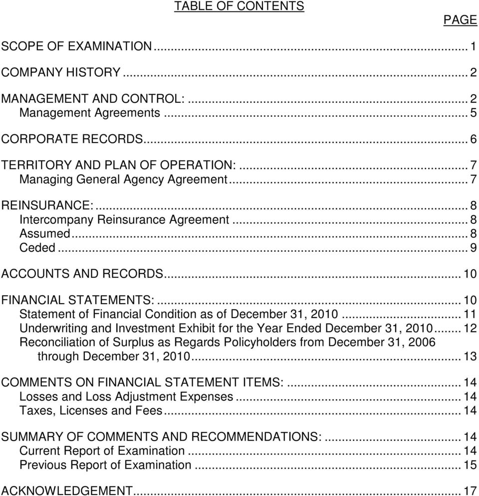 .. 10 Statement of Financial Condition as of December 31, 2010... 11 Underwriting and Investment Exhibit for the Year Ended December 31, 2010.