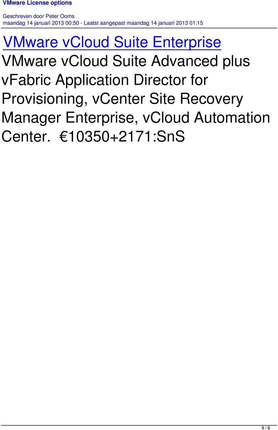 for Provisioning, vcenter Site Recovery Manager