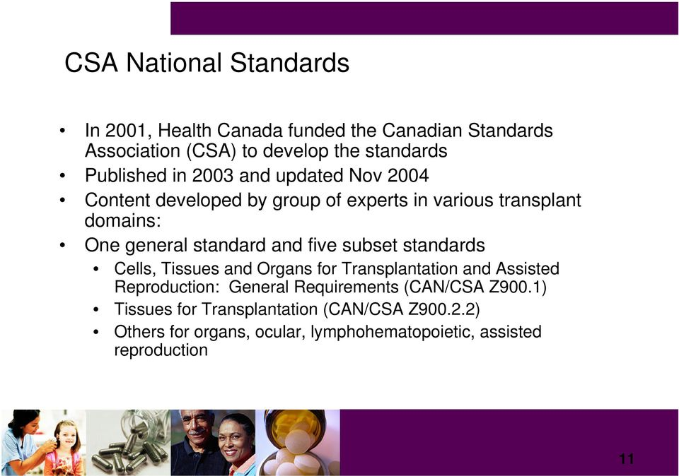 standard and five subset standards Cells, Tissues and Organs for Transplantation and Assisted Reproduction: General