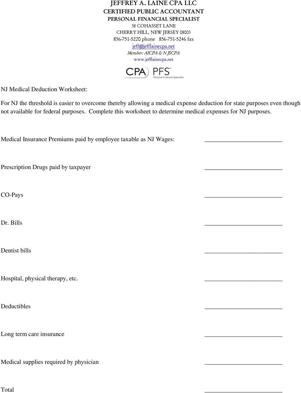 Complete this worksheet to determine medical expenses for NJ purposes.