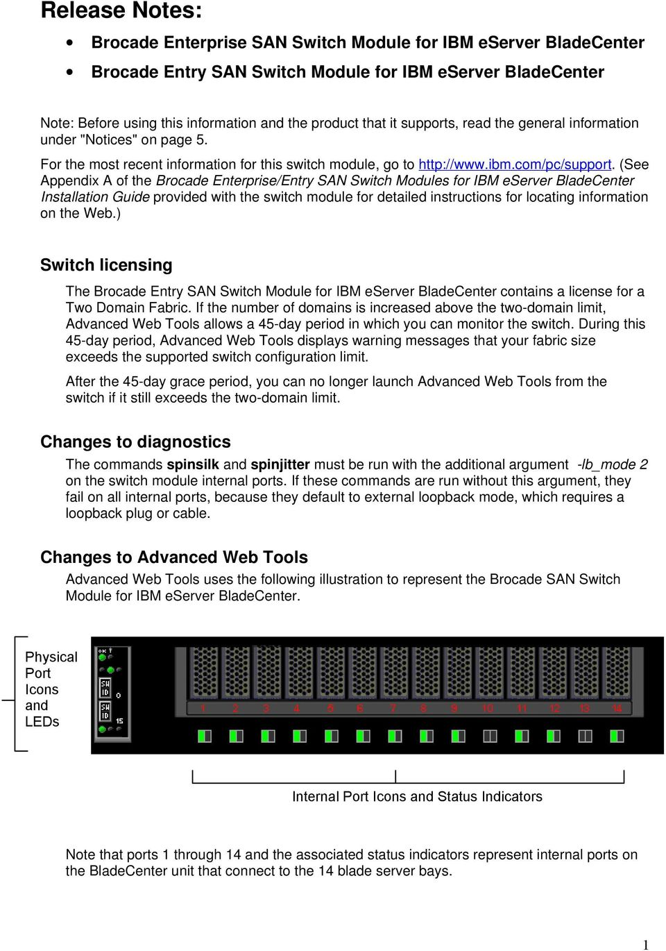 (See Appendix A of the Brocade Enterprise/Entry SAN Switch Modules for IBM eserver BladeCenter Installation Guide provided with the switch module for detailed instructions for locating information on