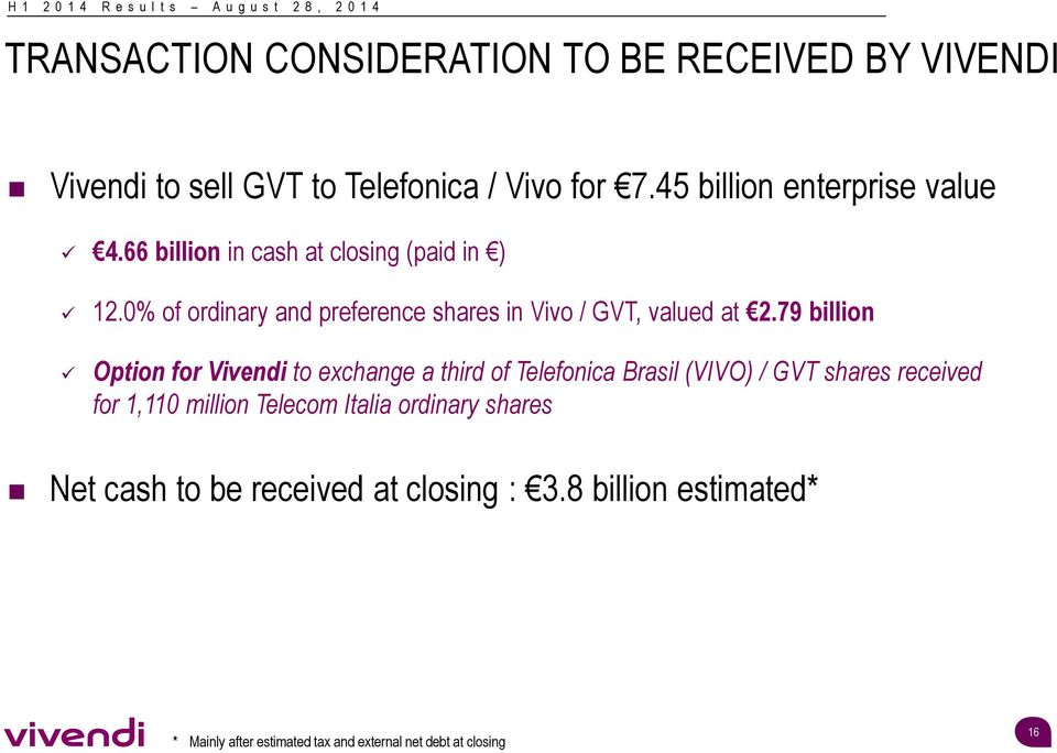 0% of ordinary and preference shares in Vivo / GVT, valued at 2.