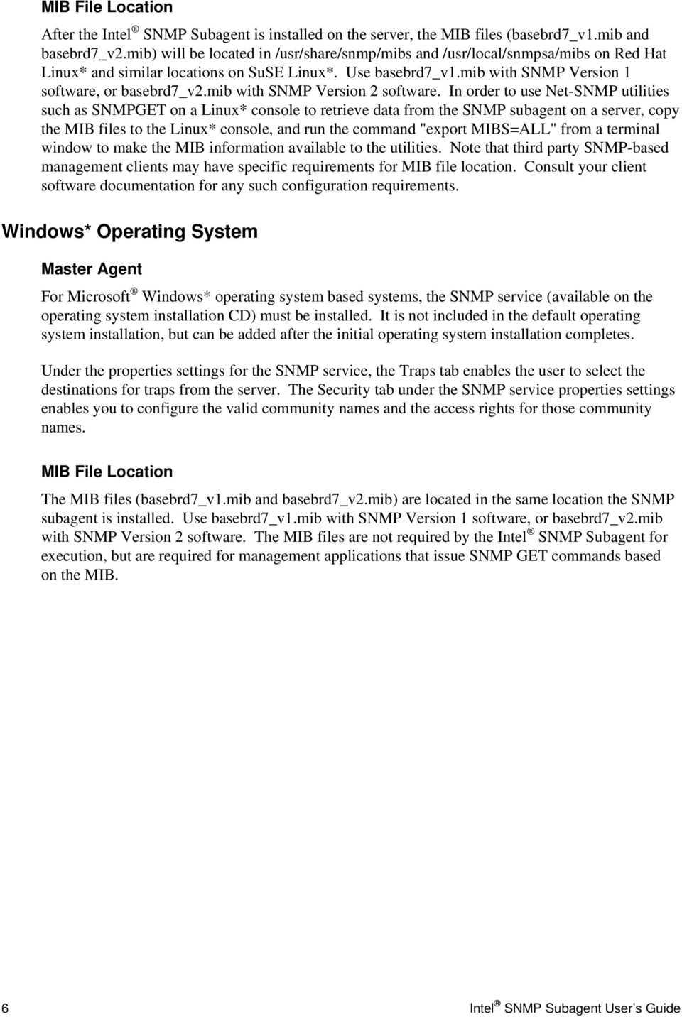 mib with SNMP Version 2 software.