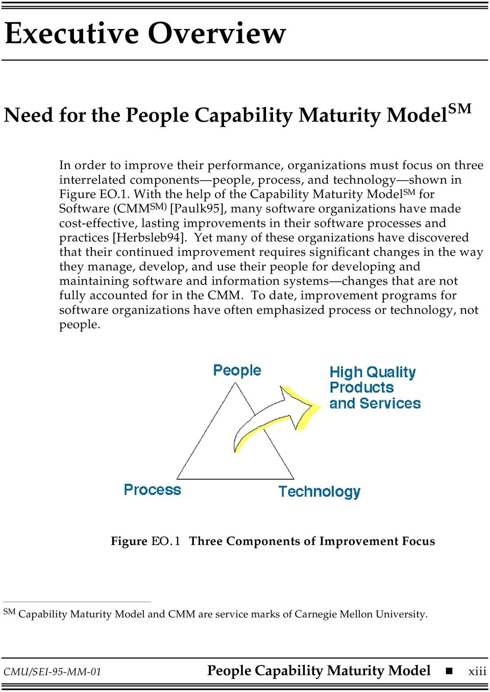 With the help of the Capability Maturity Model SM for Software (CMM SM) [Paulk95], many software organizations have made cost-effective, lasting improvements in their software processes and practices