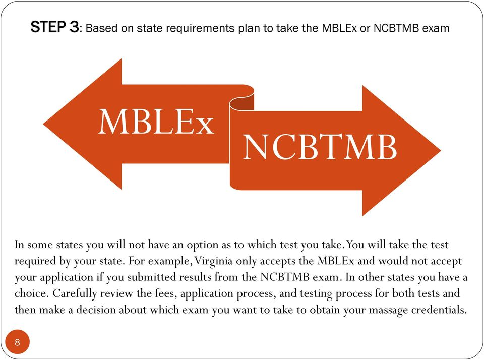 For example, Virginia only accepts the MBLEx and would not accept your application if you submitted results from the NCBTMB exam.