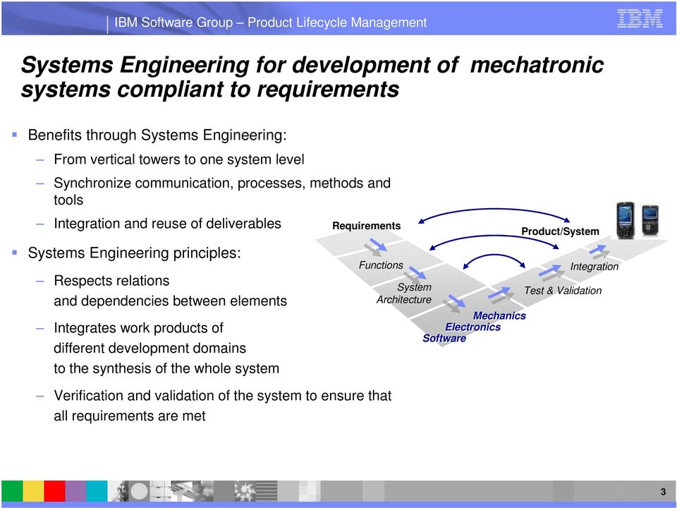 dependencies between elements Integrates work products of different development domains to the synthesis of the whole system Verification and validation of the