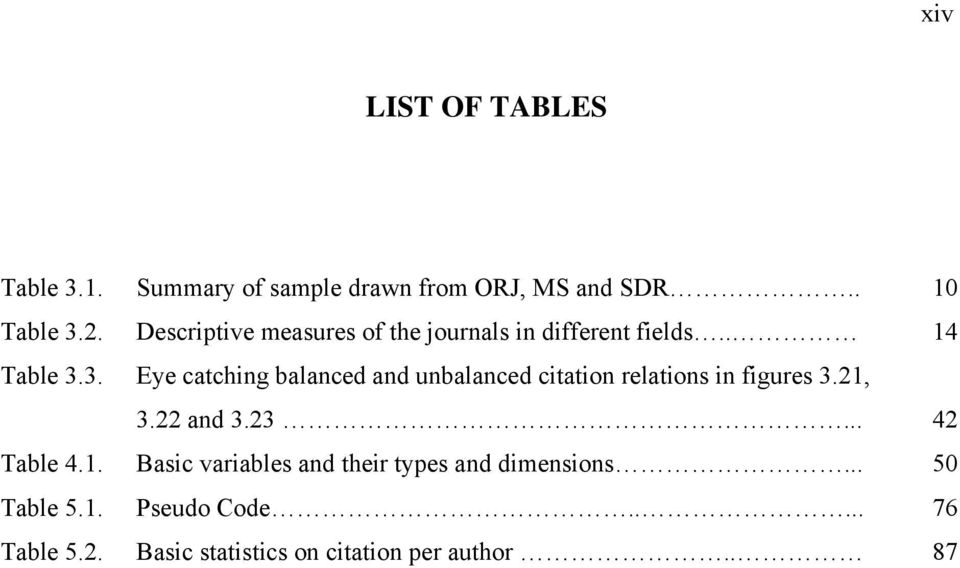 3. Eye catching balanced and unbalanced citation relations in figures 3.21, 3.22 and 3.23... 42 Table 4.