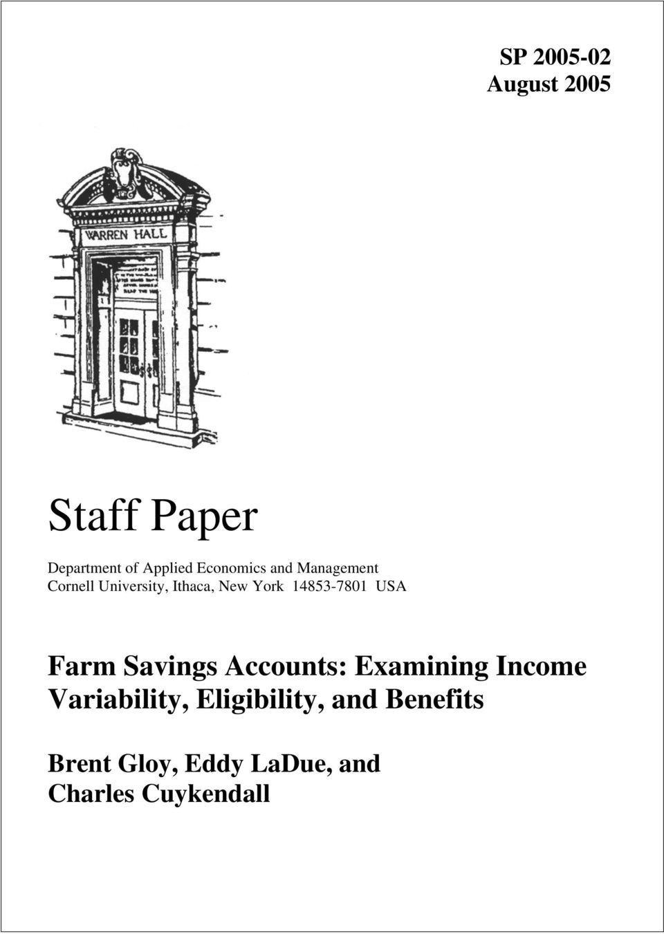 14853-7801 USA Farm Savngs Accounts: Examnng Income