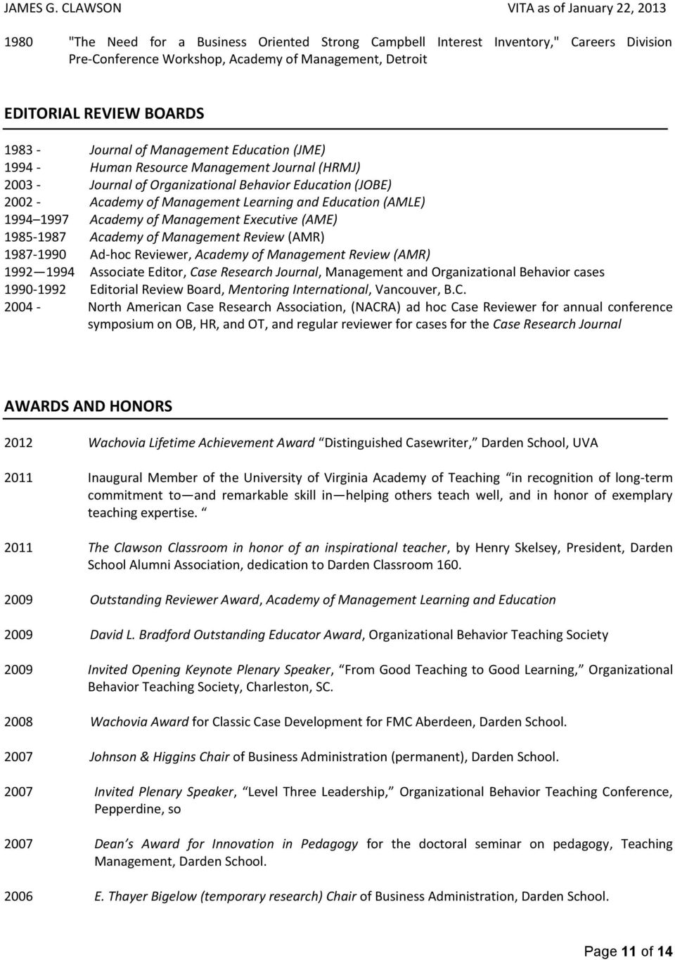 1997 Academy of Management Executive (AME) 1985-1987 Academy of Management Review (AMR) 1987-1990 Ad-hoc Reviewer, Academy of Management Review (AMR) 1992 1994 Associate Editor, Case Research