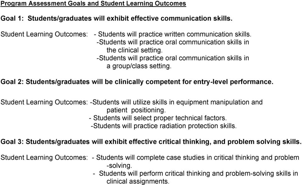 -Students will practice oral communication skills in a group/class setting. Goal 2: Students/graduates will be clinically competent for entry-level performance.