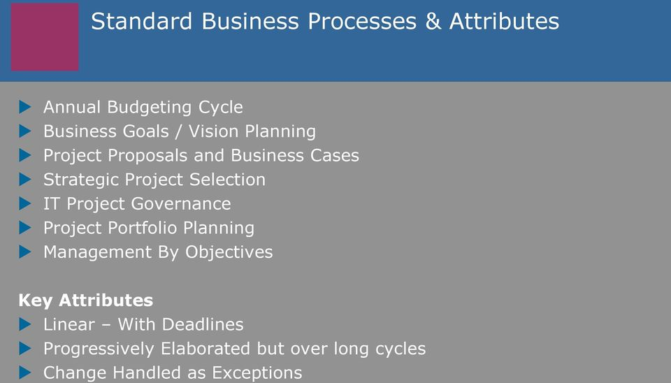 Project Governance Project Portfolio Planning Management By Objectives Key Attributes