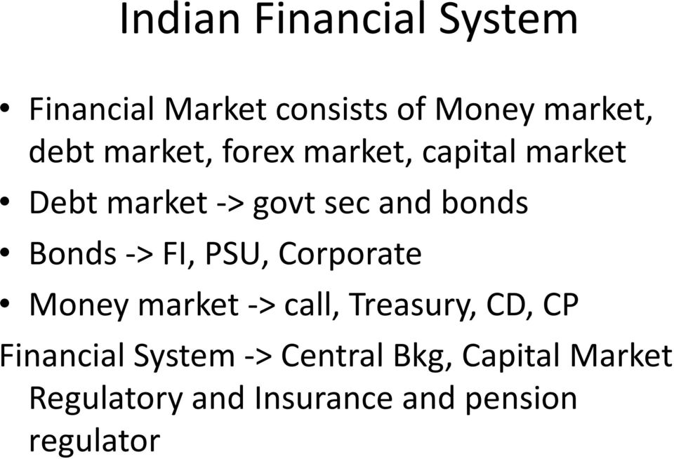 Bonds -> FI, PSU, Corporate Money market -> call, Treasury, CD, CP