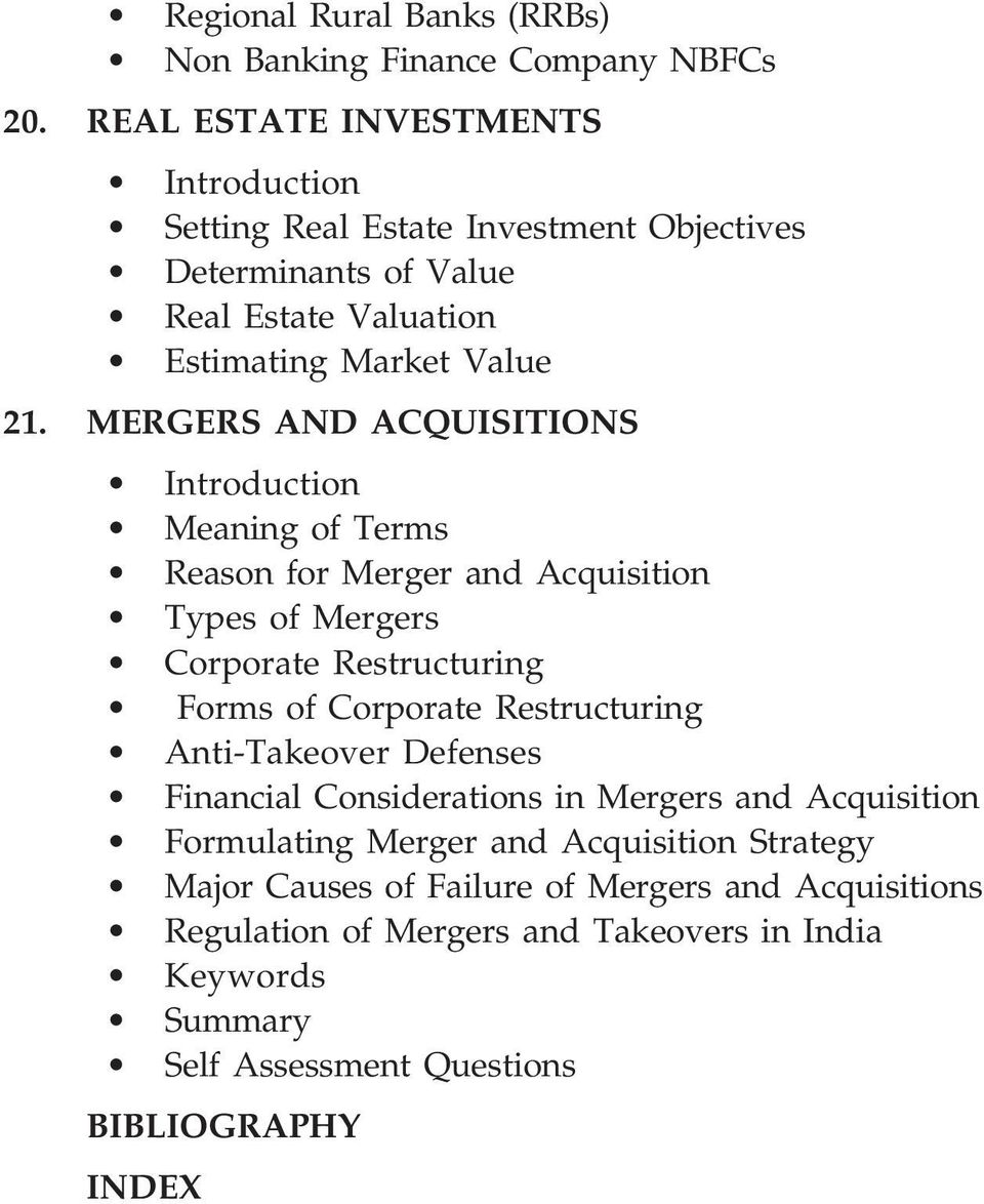 MERGERS AND ACQUISITIONS Meaning of Terms Reason for Merger and Acquisition Types of Mergers Corporate Restructuring Forms of Corporate Restructuring