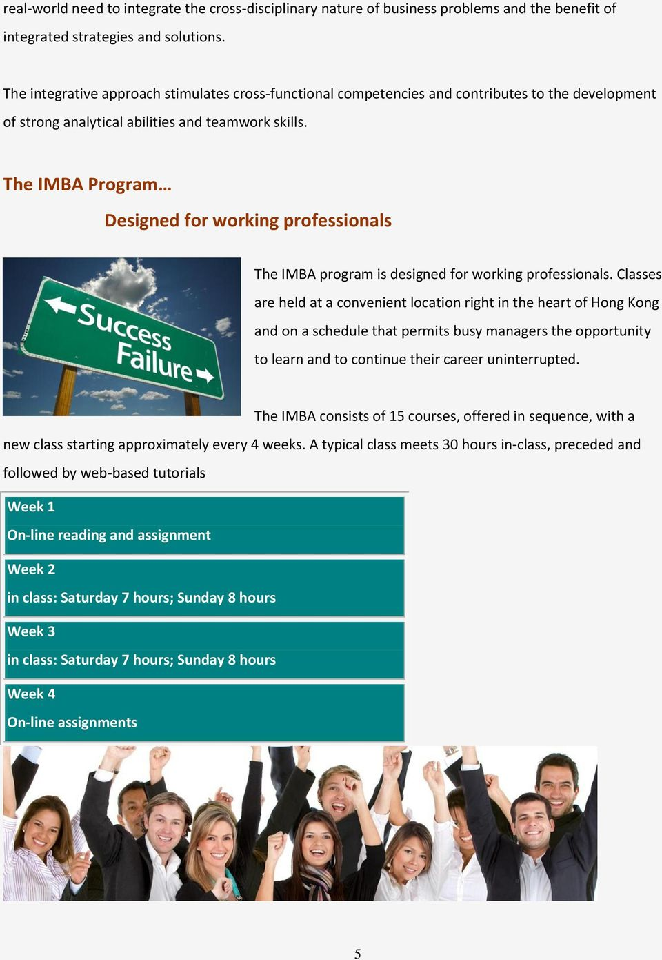 The IMBA Program Designed for working professionals The IMBA program is designed for working professionals.