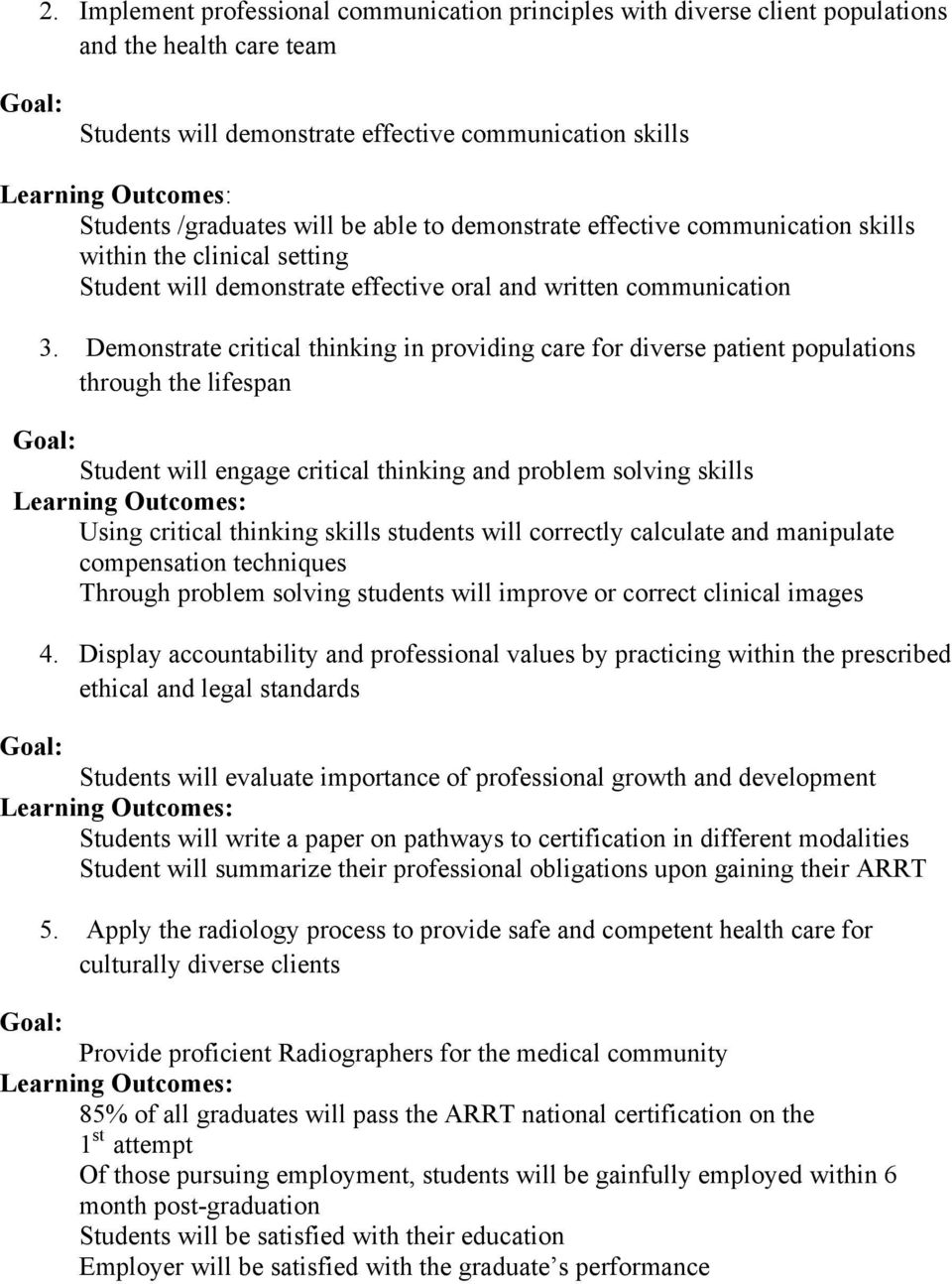 Demonstrate critical thinking in providing care for diverse patient populations through the lifespan Student will engage critical thinking and problem solving skills Using critical thinking skills