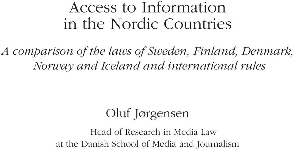 Norway and Iceland and international rules Oluf Jørgensen