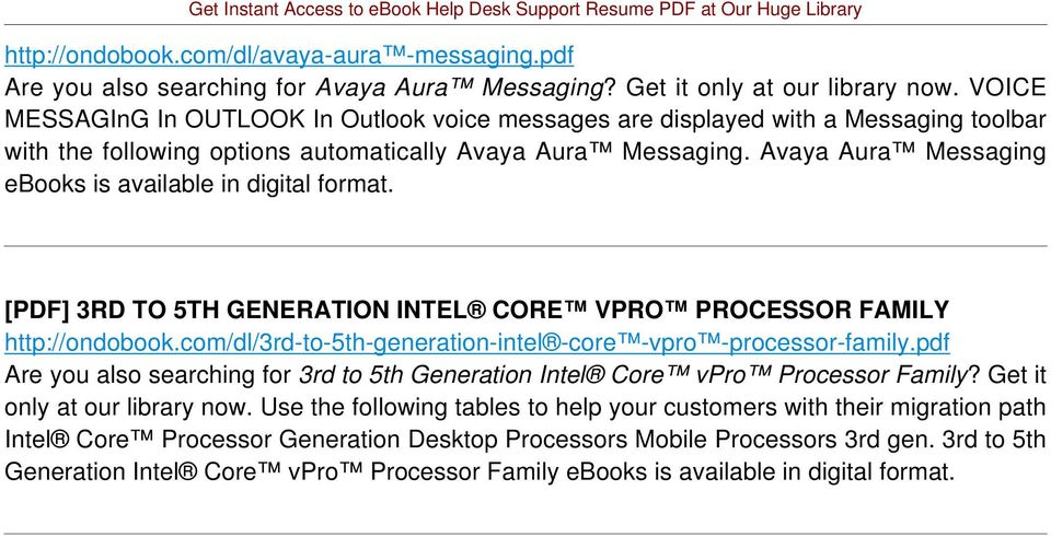 Avaya Aura Messaging [PDF] 3RD TO 5TH GENERATION INTEL CORE VPRO PROCESSOR FAMILY http://ondobook.com/dl/3rd-to-5th-generation-intel -core -vpro -processor-family.