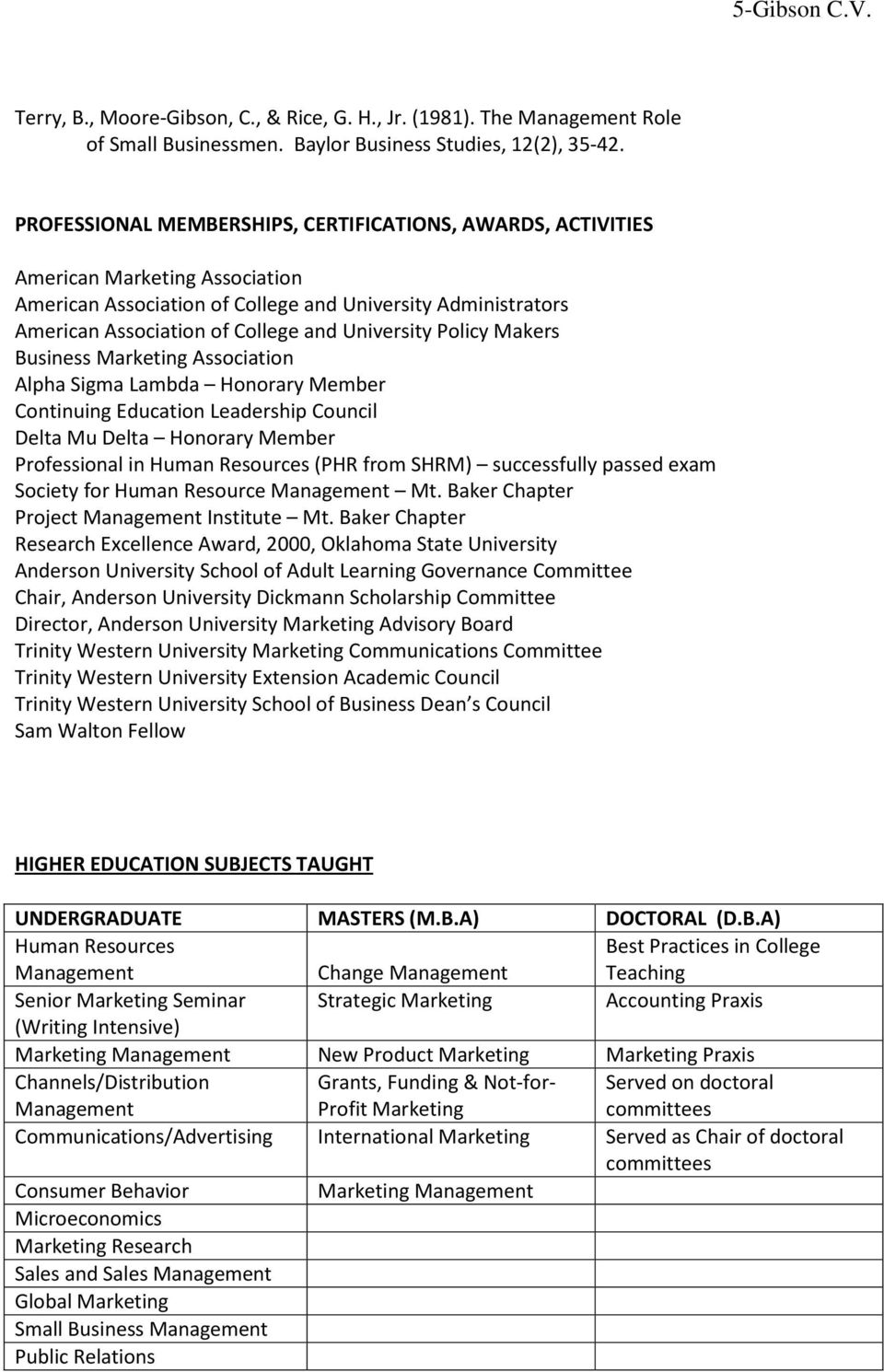 University Policy Makers Business Marketing Association Alpha Sigma Lambda Honorary Member Continuing Education Leadership Council Delta Mu Delta Honorary Member Professional in Human Resources (PHR