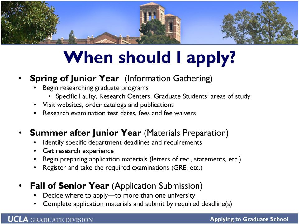 catalogs and publications Research examination test dates, fees and fee waivers Summer after Junior Year (Materials Preparation) Identify specific department deadlines and