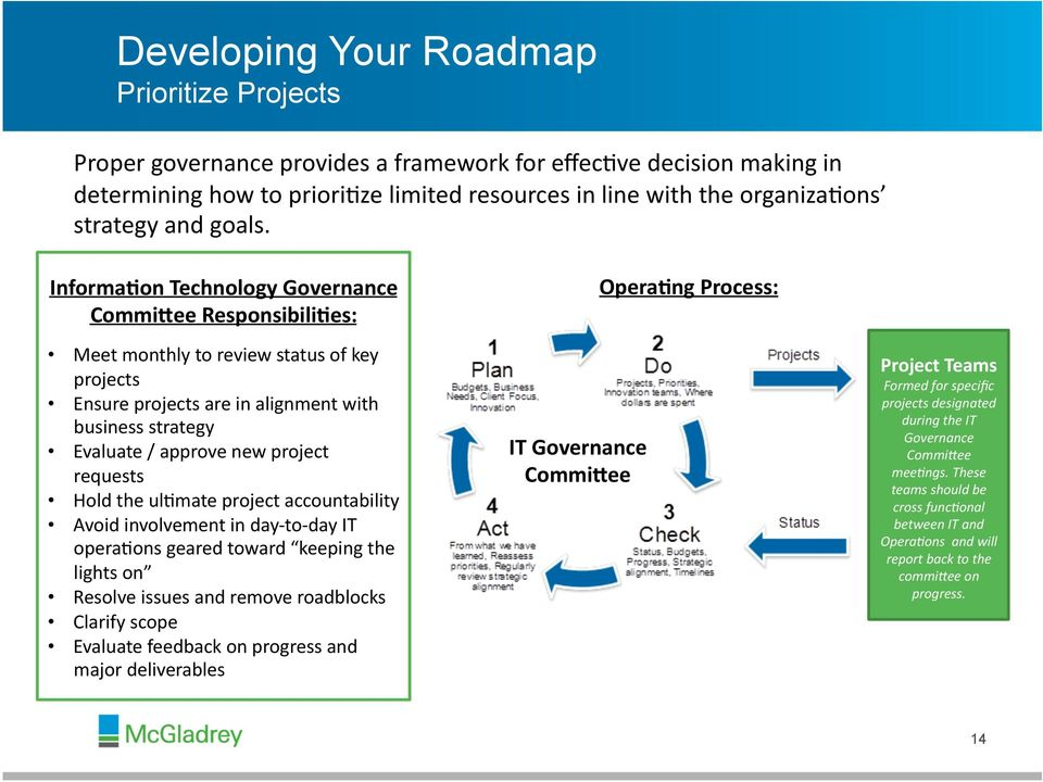 Informa0on Technology Governance CommiUee Responsibili0es: Meet monthly to review status of key projects Ensure projects are in alignment with business strategy Evaluate / approve new project