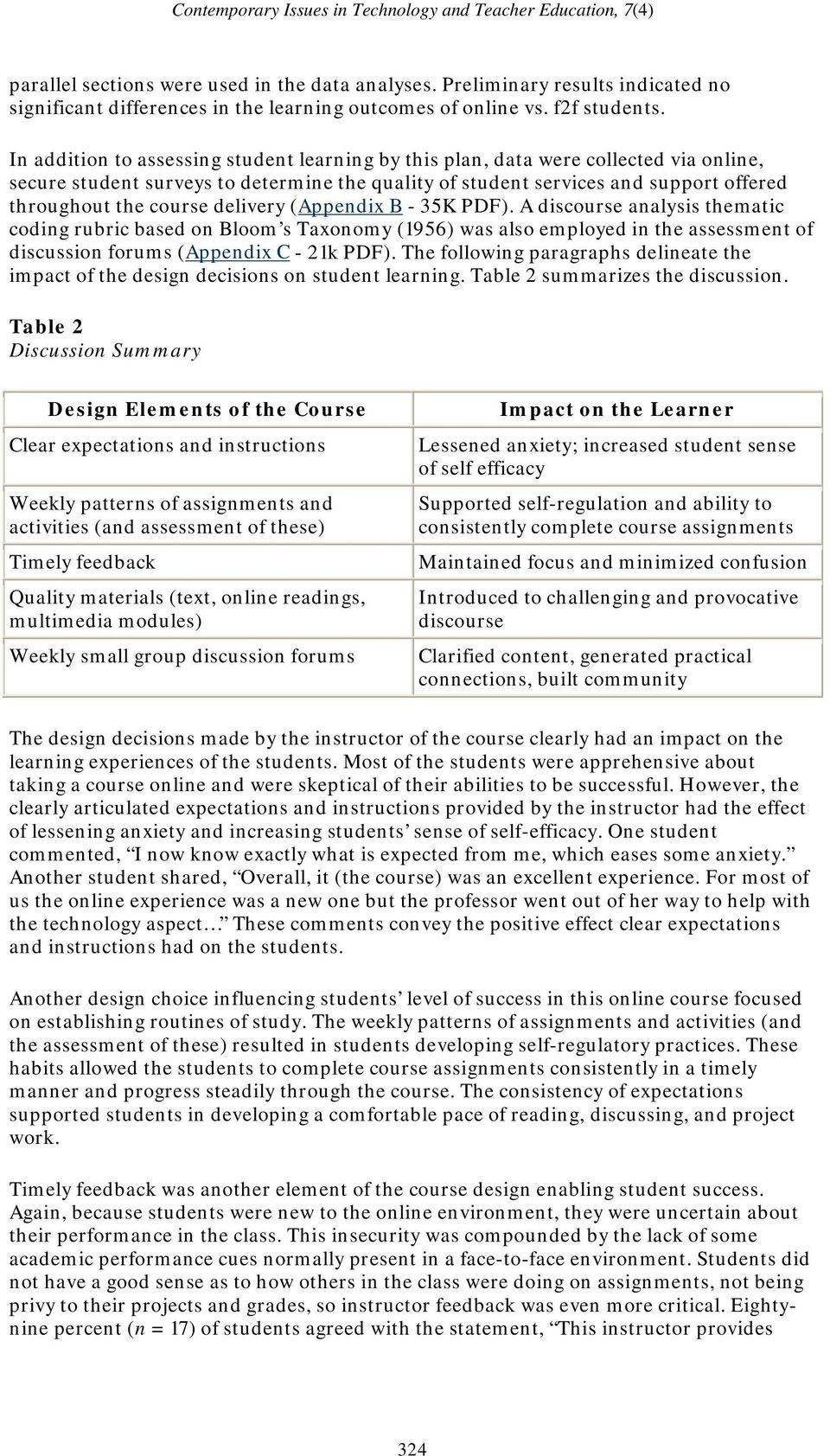 delivery (Appendix B - 35K PDF). A discourse analysis thematic coding rubric based on Bloom s Taxonomy (1956) was also employed in the assessment of discussion forums (Appendix C - 21k PDF).