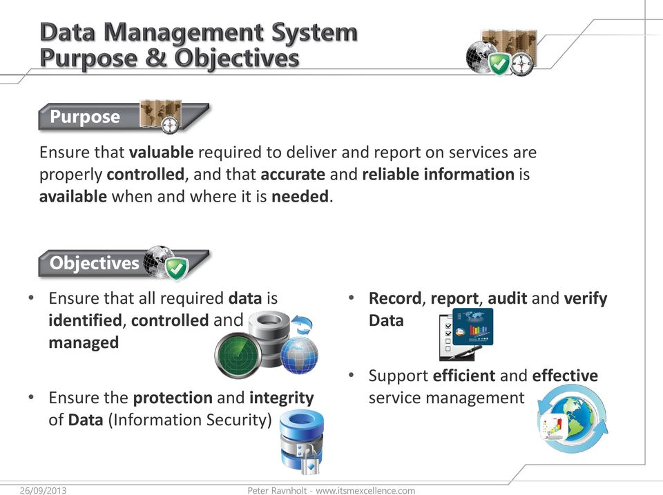 Objectives Ensure that all required data is identified, controlled and managed Ensure the protection
