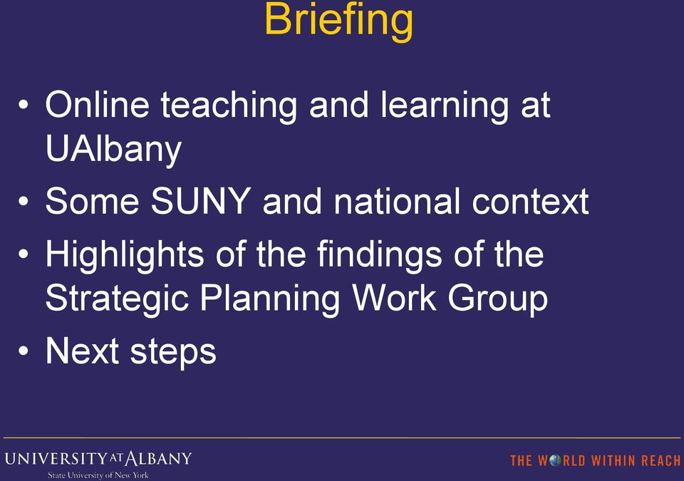 context Highlights of the findings of