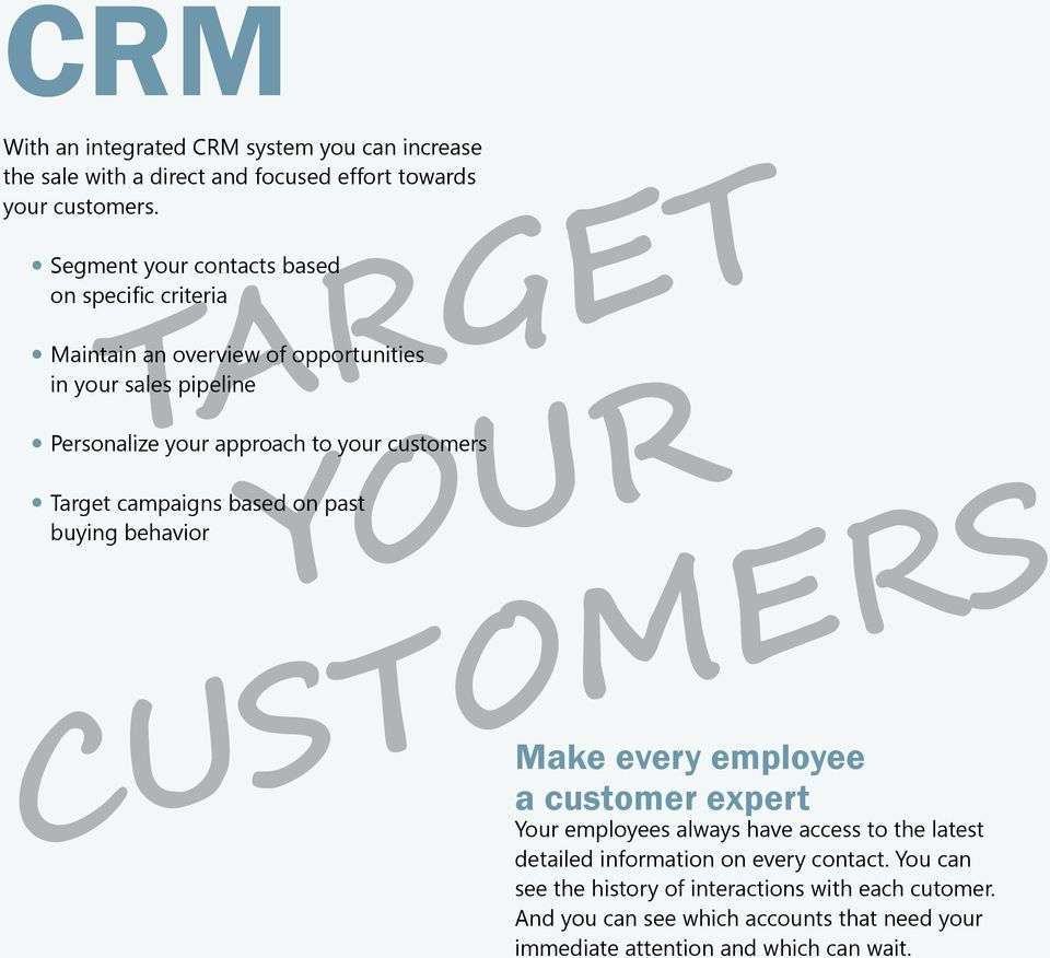 customers Target campaigns based on past buying behavior YOUR CUSTOMERS Make every employee a customer expert Your employees always have access to the