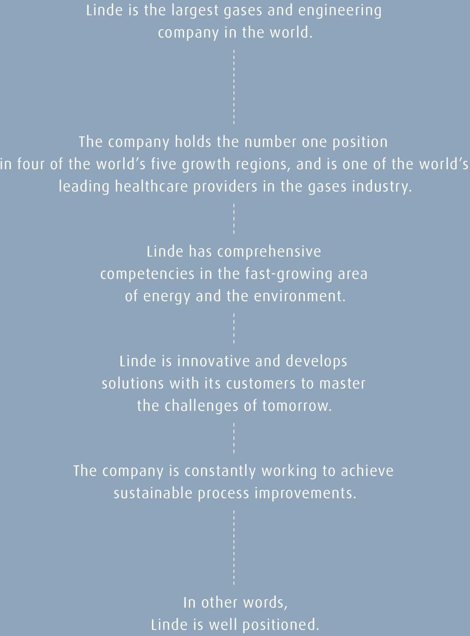 providers in the gases industry. Linde has comprehensive competencies in the fast-growing area of energy and the environment.