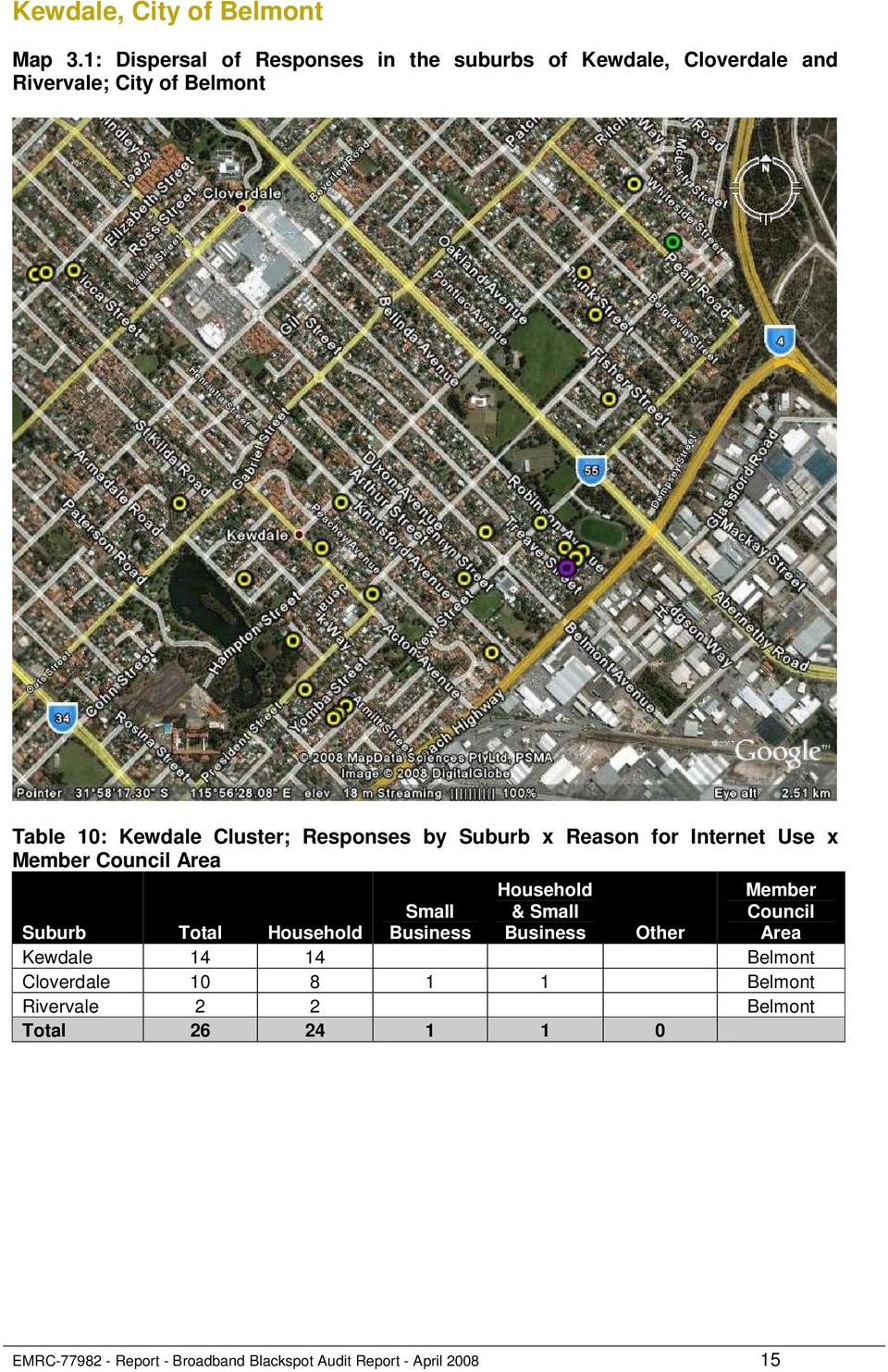 Cluster; Responses by Suburb x Reason for Internet Use x Member Council Area Household & Small Member Council