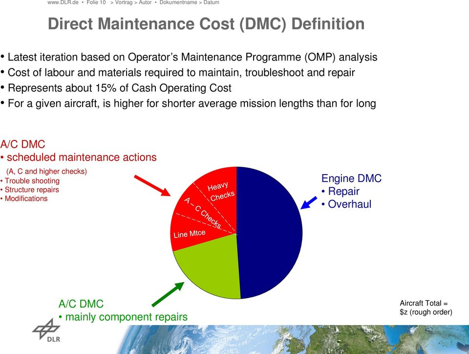 labour and materials required to maintain, troubleshoot and repair Represents about 15% of Cash Operating Cost For a given aircraft, is