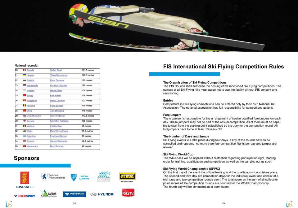 Entries Competitors in Ski Flying competitions can be entered only by their own National Ski Association. The national association has full responsibility for competitors actions.