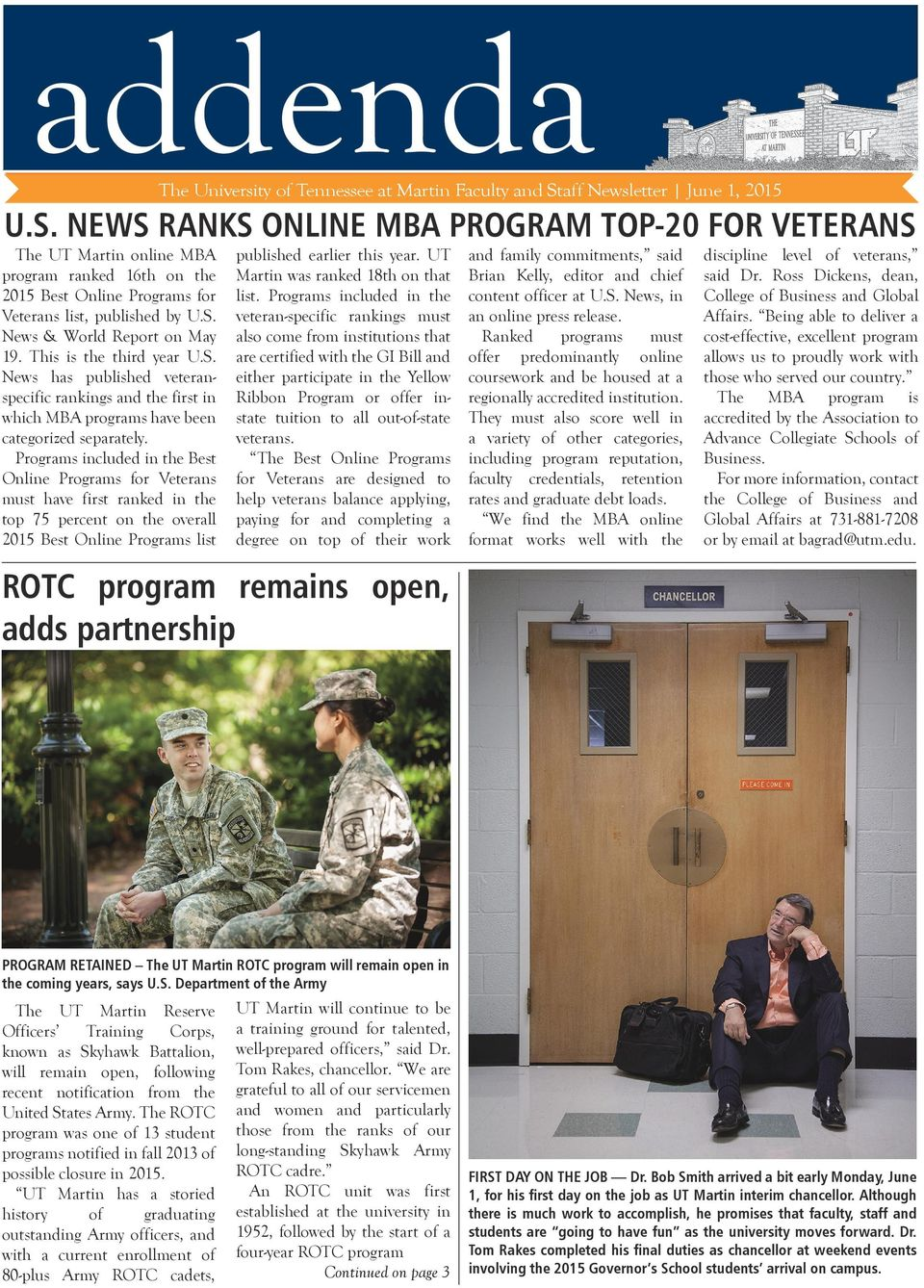 This is the third year U.S. News has published veteranspecific rankings the first in which MBA programs have been categorized separately.