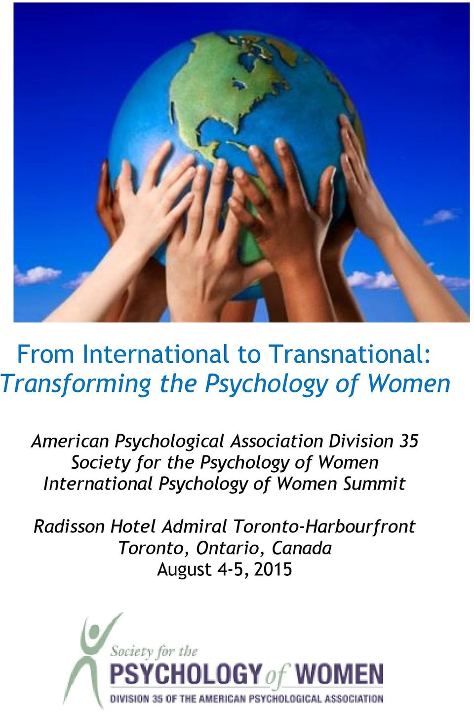 Psychology of Women International Psychology of Women Summit Radisson