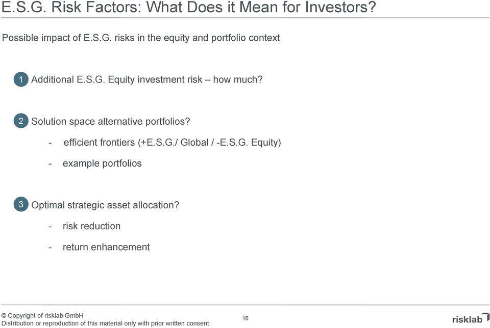 quity investment isk how much? 2 Solution space altenative potfolios?