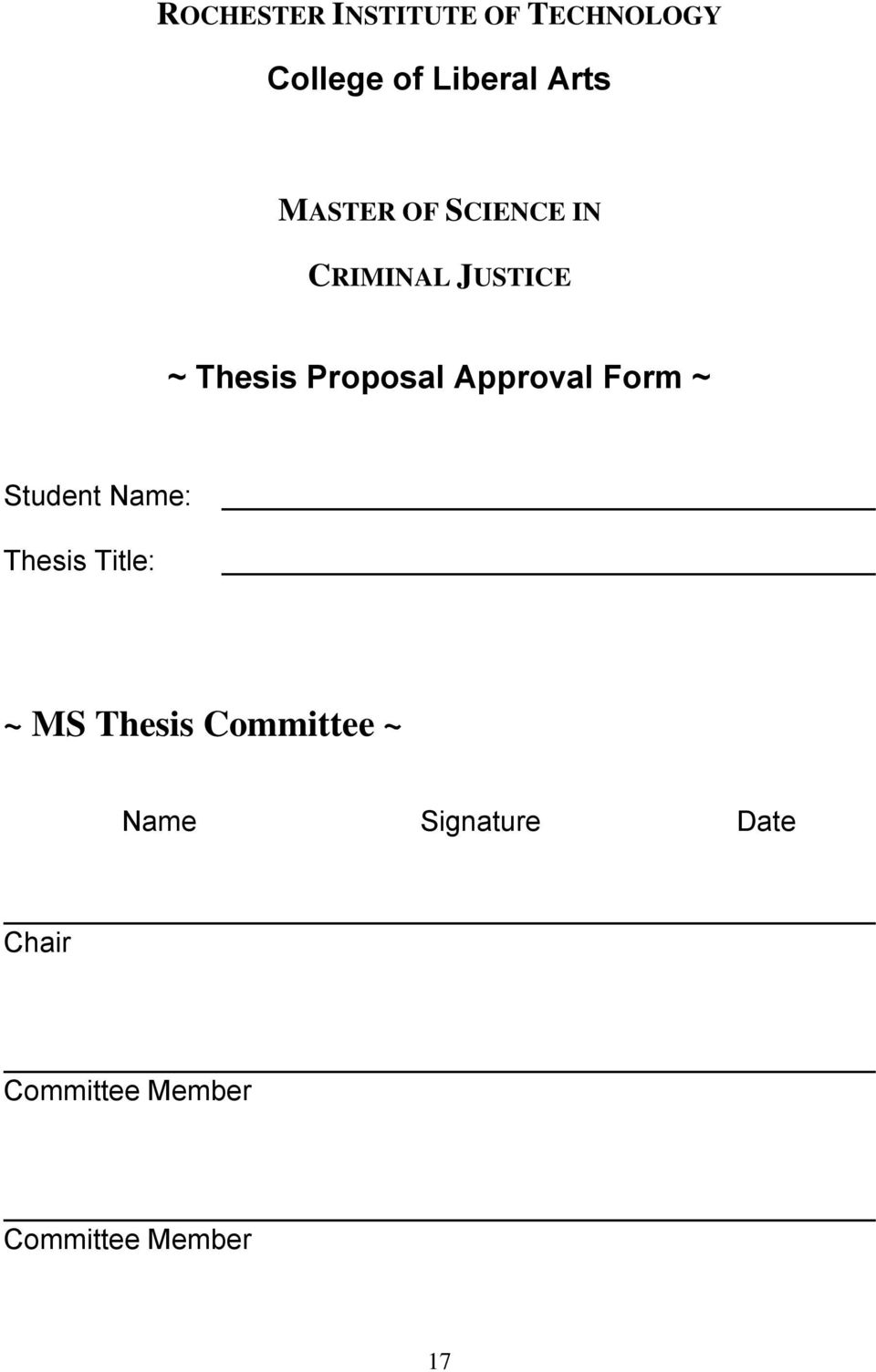 Approval Form ~ Student Name: Thesis Title: ~ MS Thesis