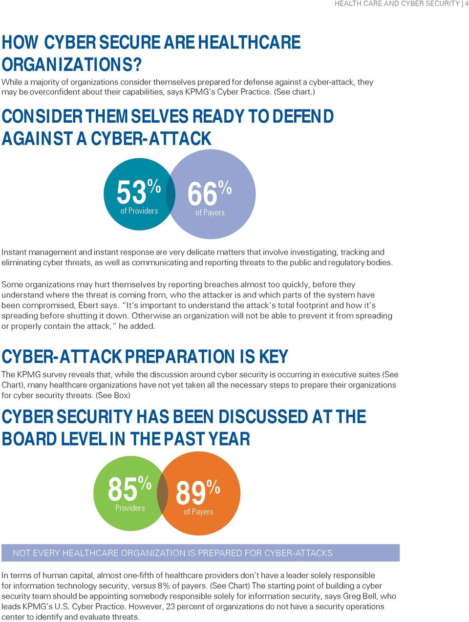 ) CONSIDER THEMSELVES READY TO DEFEND AGAINST A CYBER-ATTACK 53 % of Providers 66 % of Payers Instant management and instant response are very delicate matters that involve investigating, tracking