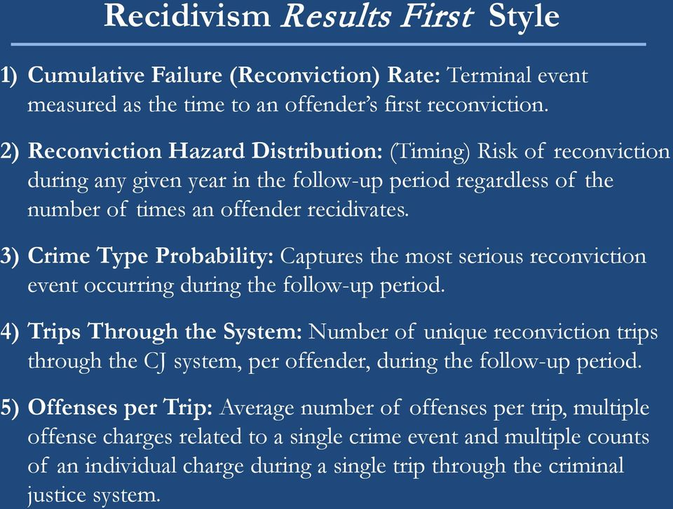 3) Crime Type Probability: Captures the most serious reconviction event occurring during the follow-up period.