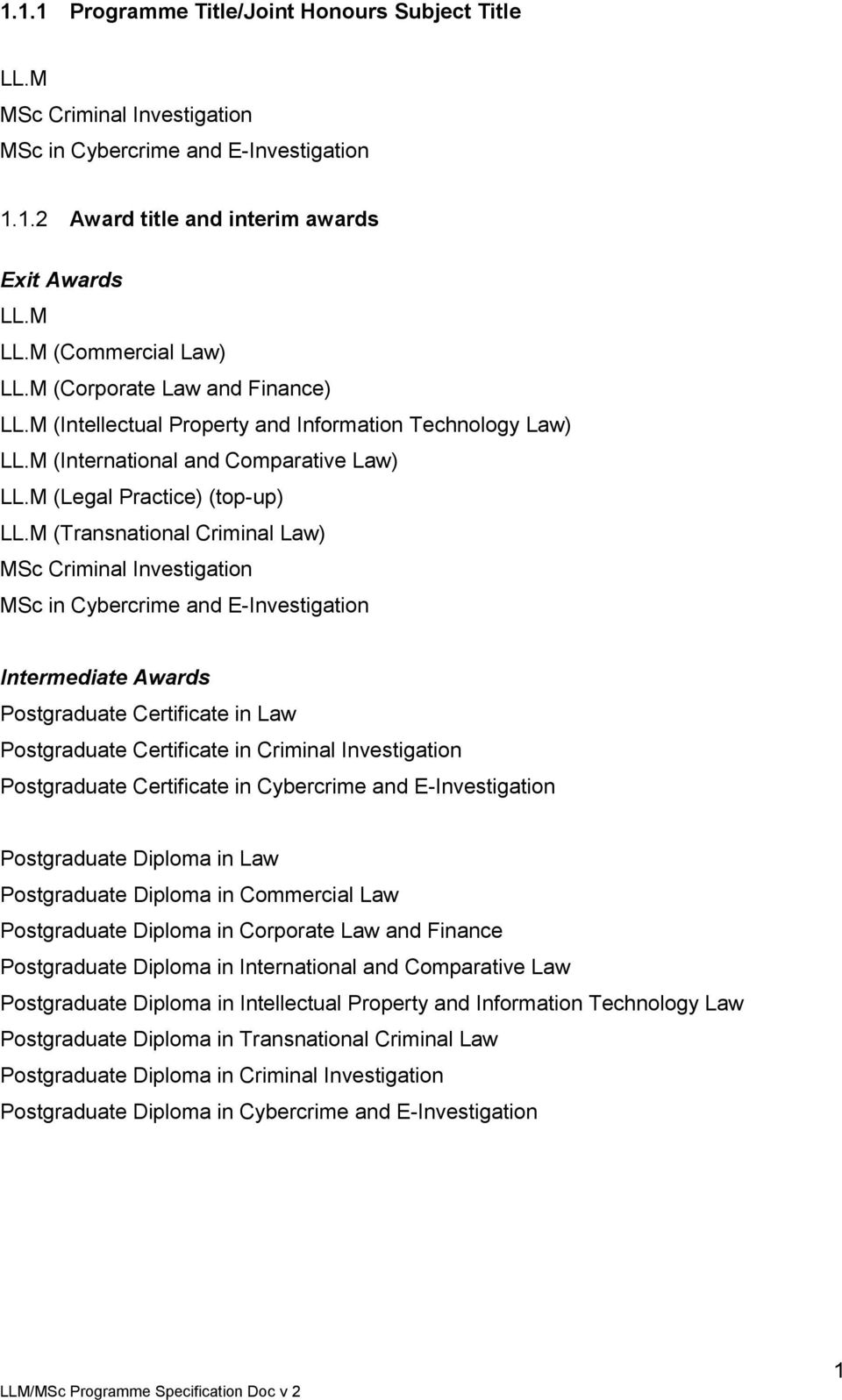 M (Transnational Criminal Law) MSc Criminal Investigation MSc in Cybercrime and E-Investigation Intermediate Awards Postgraduate Certificate in Law Postgraduate Certificate in Criminal Investigation