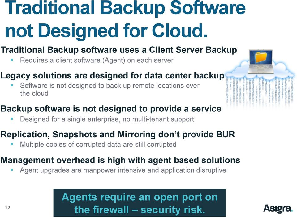 is not designed to back up remote locations over the cloud Backup software is not designed to provide a service Designed for a single enterprise, no multi-tenant support