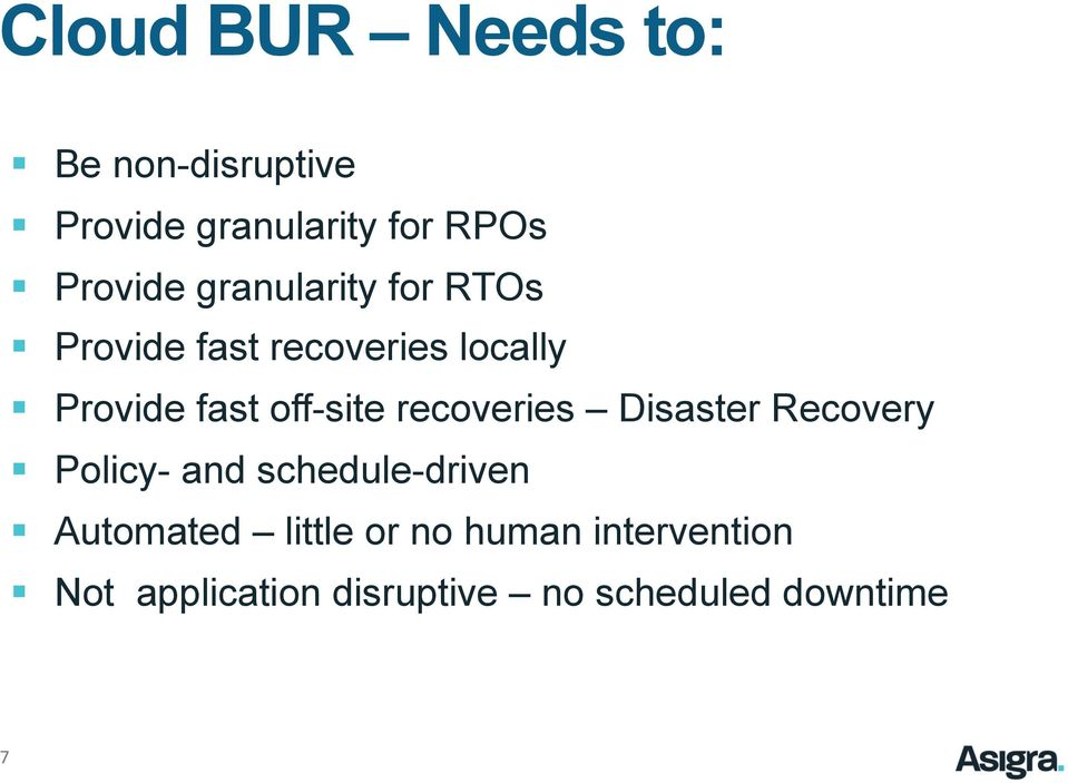 recoveries Disaster Recovery Policy- and schedule-driven Automated little
