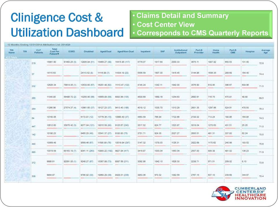 Summary Cost Center View