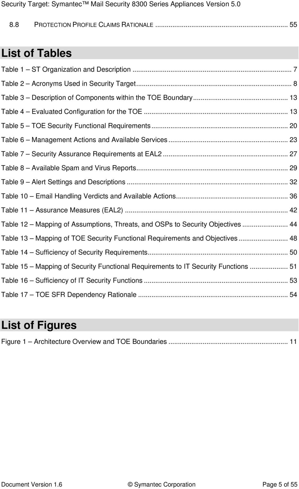 .. 20 Table 6 Management Actions and Available Services... 23 Table 7 Security Assurance Requirements at EAL2... 27 Table 8 Available Spam and Virus Reports.