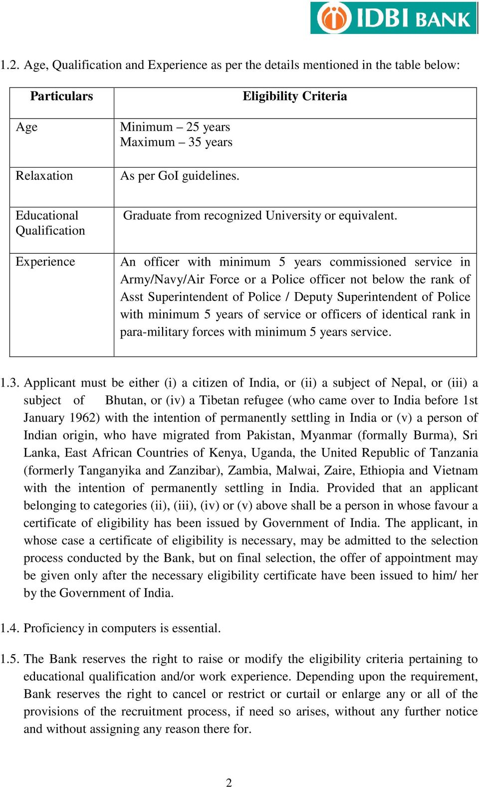 An officer with minimum 5 years commissioned service in Army/Navy/Air Force or a Police officer not below the rank of Asst Superintendent of Police / Deputy Superintendent of Police with minimum 5